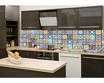 DIMEX LINE Küchenrückwand Folie selbstklebend AZULEJOS 260 x 60 cm |  Klebefolie - Dekofolie - Spritzchutz für Küche | Premium QUALITÄT