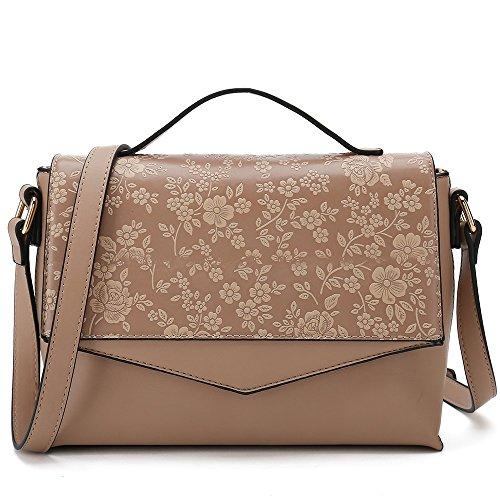 Floral Cross Body Purses for Women Designer Shoulder Bags ladies Fashion Handbag (Dark Pink) -
