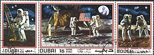 Dubai 362-364 Triple Strip (Completely. Issue) 1969 Moon Landing - Apollo 11 (Stamps for Collectors) Space
