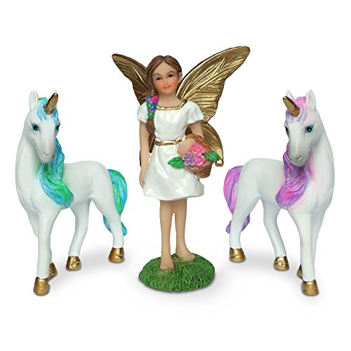 - Your Uncommon Essentials Complete hand painted fairy garden set + magical story booklet! Set comes with fairy friend and 2 unicorns and they all come to life in their booklet! (Blue)