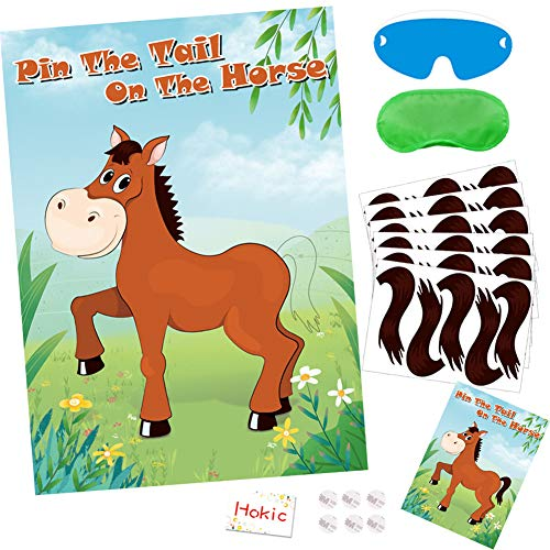 Hokic Pin The Tail On The Horse Game for Girls/Kids Birthday Party Decorations Horse Themed Birthday Party Supplies, Large Horse Poster 30 Tail Stickers ()