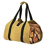 Jannyshop Canvas Log Carrier Bag Waxed Durable Wood Tote Fireplace Stove Accessories Extra Large Firewood Holder Handles