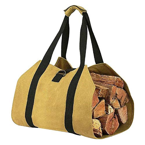Price comparison product image Lorchwise Canvas Firewood Storage Bag - Portable Outdoor Match Storage Bag Large Fire Wood Bag - Fireplace Wood Stove Accessories Storage Bag
