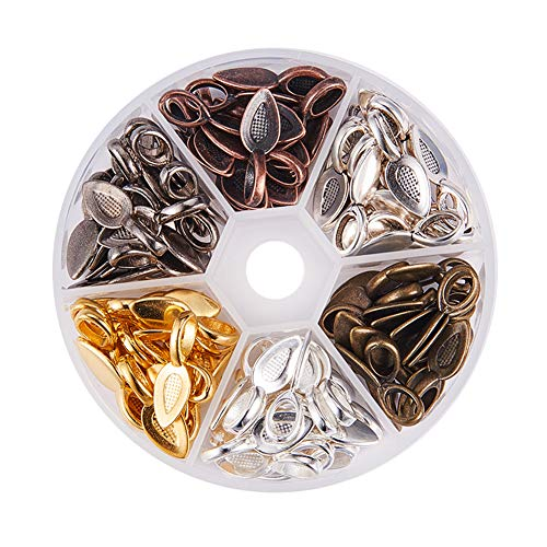 PandaHall Elite 120pcs 6 Colors Tibetan Style Alloy Glue-on Flat Pad Bails Leaf Bails Pendants Charms Connector Hanger for Jewelry Making