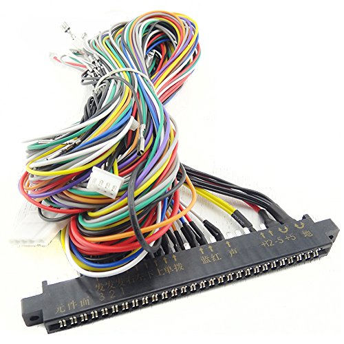 BLEE Jamma Wiring Harness with 5,6 Action Button 28 Pin Wires Video Game Cables for Multi Arcade Games Machine Accessories