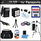 16GB Accessory Kit For Panasonic HC-X920, HC-X920M, HC-X900M HC-X900, HC-X800 Camcorder Includes 16GB High Speed SD Memory Card + Replacement (1500Mah) VW-VBN130 Battery + Ac/Dc Charger + Case + Tripod + 3PC Filter Kit (UV-CPL-FLD) + Mini HDMI Cable +More