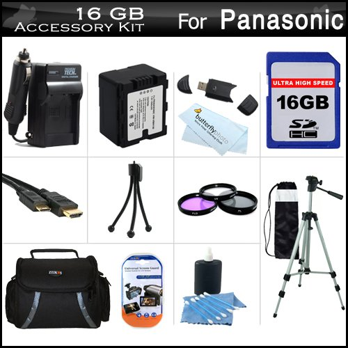 16GB Accessory Kit For Panasonic HC-X920, HC-X920M, HC-X900M HC-X900, HC-X800 Camcorder Includes 16GB High Speed SD Memory Card + Replacement (1500Mah) VW-VBN130 Battery + Ac/Dc Charger + Case + Tripod + 3PC Filter Kit (UV-CPL-FLD) + Mini HDMI Cable +More by ButterflyPhoto