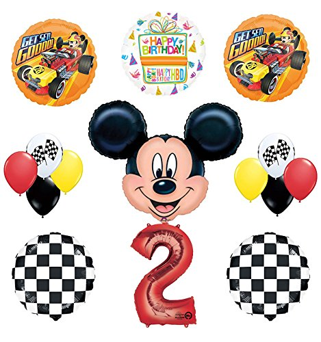 (Mickey Mouse 2nd Birthday Party Supplies and Mickey Roadster Balloon Bouquet Decorations)