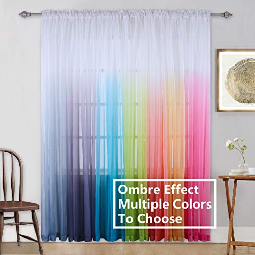 Kids Girls Bedroom Sheer Curtains Colorful Rainbow Ombre Window Panels Drapes for Teenage Girls Room/Living Room/Kitchen/Nursery/Party Birthday Gradient Multi Colored Little Princess Backdrop Set of 2 (Bedroom Colorful Curtains)