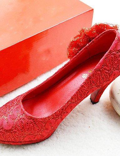 Rot Rundeschuh Damen Hochzeitsschuhe High ShangYi 2in Heels Zehe Geschlossene Absätze Hochzeit tqBdwxzR