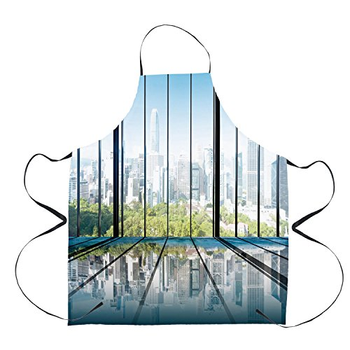 - Stylish Apron,Landscape,Sunny Clear Sky Office Skyscrapers in Urban Metropolitan City Scenery,White Black and Green,Unisex Kitchen Bib Apron with Adjustable Neck for Cooking Baking Gardening Barbequin