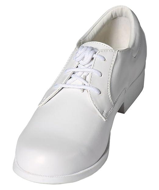 Amazon.com: Boys encaje blanco hasta punta redonda zapatos ...