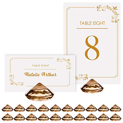 - GOLD Diamond Table Number & Place Card Holders - Set of 20 Sturdy Acrylic Name Card Holders Perfect for Your Wedding & Party