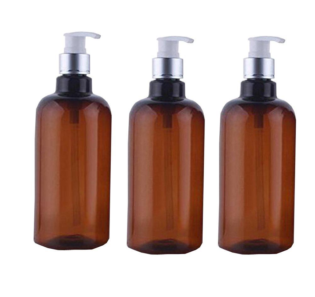 3PCS 500ml 16.7oz Brown Plastic Empty Refillable Cosmetic Makeup Liquid Soap Bath Shower Shampoo Toiletries Spray Pump Bottle Cream Lotion Dispenser Jar Pot ASTRQLE
