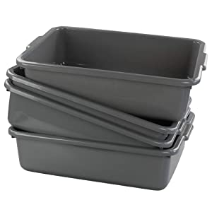 CadineUS 13 L Grey Plastic Tote Box Set of 4, Commercial Bus Box Large Plastic Dish Bin