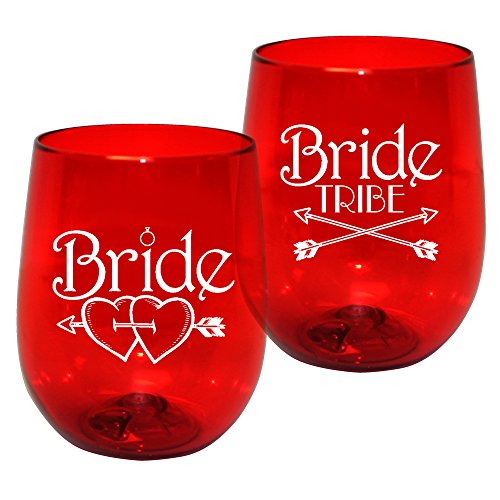 (Barware 12oz Plastic Stemless Wine Glass – Bride Tribe Print for Bachelorettes, set of 12 – Shatterproof Tumbler, Translucent Red)