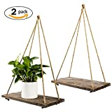 #4: TIMEYARD Decorative Wall Hanging Shelf - Distressed Wood Floating Shelves - Rustic Home Decor - Set of 2