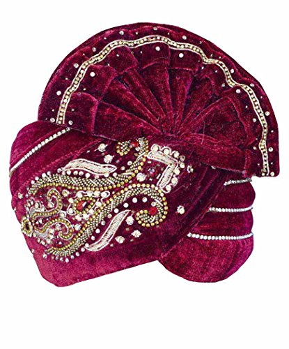 INMONARCH Mens Royal Wedding Turban Pagari Safa Groom Hats TU1074 23-inch Maroon by INMONARCH