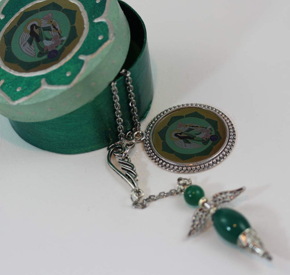 Green Malachite Angel Pendulum Necklace with Box Gift for Her Dowsing and Divination Kit in Box Archangel Raphael Gemstone Jewelry