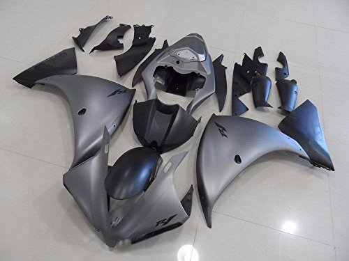 Matte Grey Complete Fairing Cowl Kit Injection for 2012-2014 Yamaha Yzf R1 1000