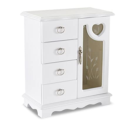 Amazoncom White Wood Glass Door Jewelry Box Stand Up Armoire