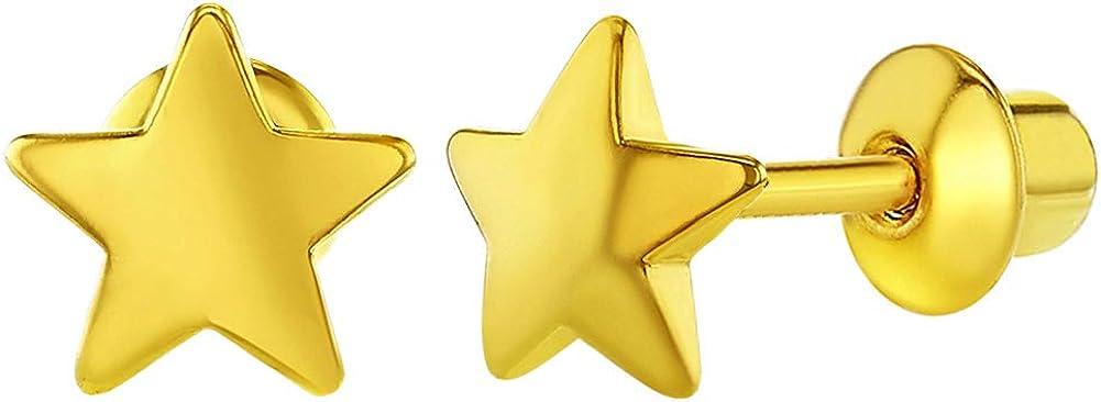 18k Yellow Gold Plated Little Plain Star Screw Back Toddler Girls Earrings 6mm
