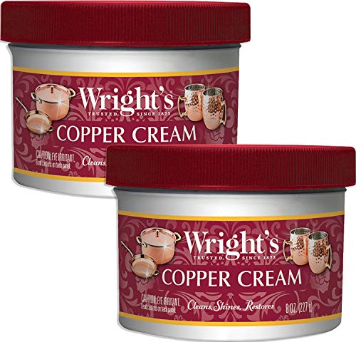 (Wright's Copper and Brass Polish and Cleaner Cream- 8 Ounce - 2 Pack - Gently Clean and Remove Tarnish Without Scratching )