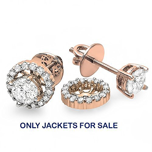 0.25 Carat (ctw) 14K Rose Gold Round Diamond Removable Jackets for Stud Earrings 1/4 (0.25 Ct Round Rose)