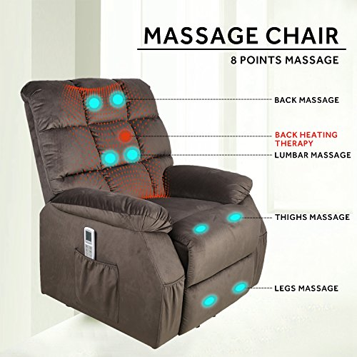 FrHome Electric Power Lift Fabric Massage Recliner Chair With Heated and Massage Vibrating, Soft Sponge Padding Living Room Lounge Sofa Chair, Coffee