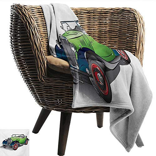 Anshesix Home Throw Blanket Cars Hand Drawn Convertible Vintage Green Car with Colorful Rims Retro Vehicle Design Print Plush Throw Blanket W60 xL40 Sofa,Picnic,Camping,Beach,Everyday use