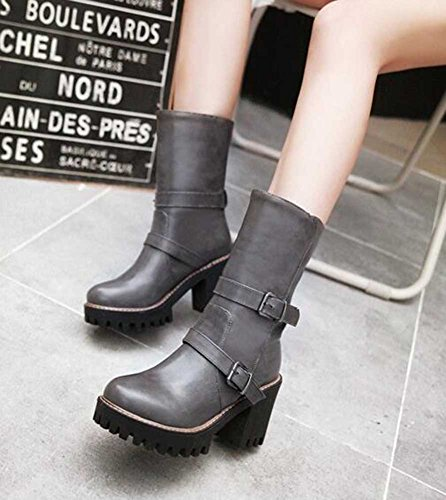 CHFSO Womens Trendy Solid Round Toe With Buckle Pull On Chunky High Heel Platform Ankle Gladiator Boots Gray U9y1UqYY6n