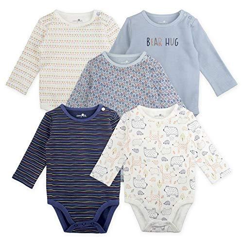 Sunny & Sal Baby Boy Bodysuit Set, 5-Pack Long Sleeve Bear Print Bodysuits, 9 Month, Blue, Grey, White, Navy