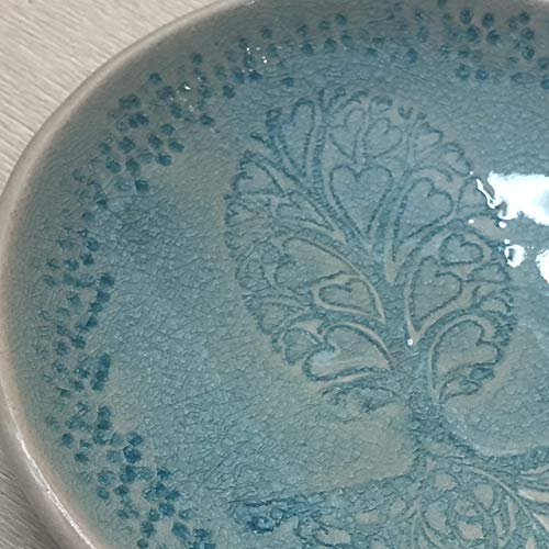 (JANECKA Turquoise Tree of Hearts Bowl 5.25