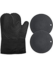 Icekids Silicone Oven Mitts,13.4'' Oven Mitten and Pot Holders Set,500℉ Heat Resistant Cooking Gloves with Non-Slip Grip Textured Silicon Potholders,Flexible Lining Inside,,Black,4 Pcs