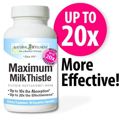 Milk Thistle maximum, 90 mg 240 Capsules - Support & Protéger votre foie avec la formule Milk Thistle plus absorbable et efficace sur le marché