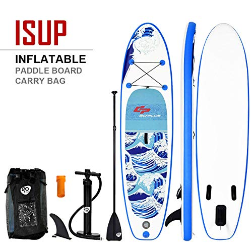"""Goplus Inflatable Stand up Paddle Board iSUP Cruiser 6"""" Thickness iSUP Package w/3 Fins Thuster, Adjustable Paddle, Pump Kit and Carry Backpack (Wave, 10 FT)"""