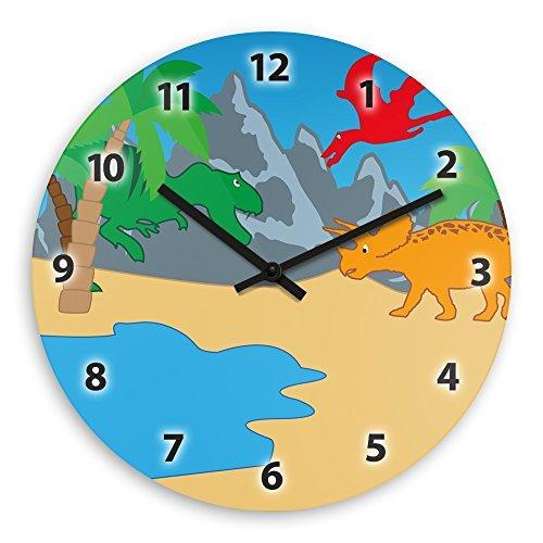Modern Wood Wall Clock With Dinosaur Motif For Children Nurs
