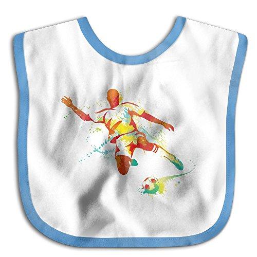 Safe Cotton Kids Lunch Bibs Soccer Player Baby Saliva Towel Cute Feeding Snap -