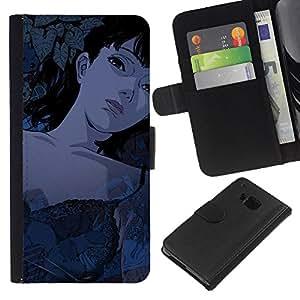 NEECELL GIFT forCITY // Billetera de cuero Caso Cubierta de protección Carcasa / Leather Wallet Case for HTC One M7 // Muchacha de la historieta de Tattoed Sexy