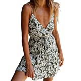 FEDULK Womens Bohemia Floral Print Mini Dress Sleeveless V Neck National Casual Summer Beach Sundress Dress(Green, X-Large)