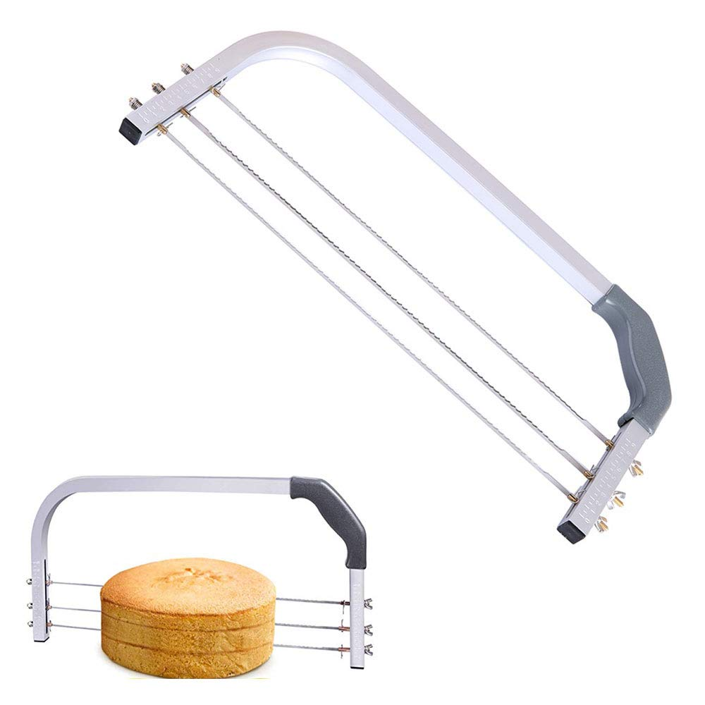 ZYZ Cake Cutter, Adjustable Stainless Steel 3 Blades Interlayer Cake Slicer, Unique Serrated Design Easy to Divide The Cake Evenly for Baking Tools