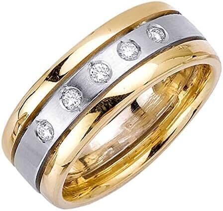 0.25ct TDW White Diamonds 14K Two Tone Gold Center Stripe Men's Comfort Fit Wedding Band (G-H, SI1-SI2)-(9mm)