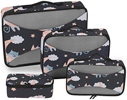 青猫ピンクムーン荷物パッキングキューブオーガナイザートイレタリーランドリーストレージバッグポーチパックキューブ4さまざまなサイズセットトラベルキッズレディース