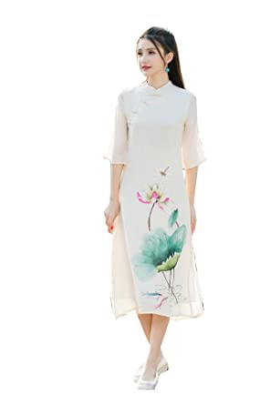 8db13eea6 Traditional Chinese Dress Cotton Linen Hand Painted Flower Robe A-Line Dress  0 Beige