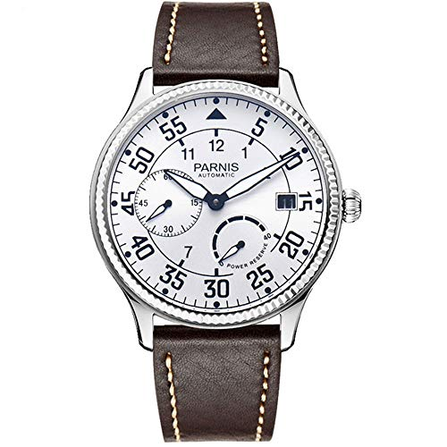 Parnis 45mm White Dial Luminous Pointer Date Display Power Reserve Indicator Mineral Glass Seagull ST2530 Automatic Movement Men's Wrist Watch (White Dial) (Power Reserve Indicator)