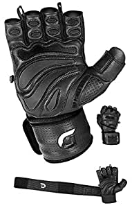 "Elite Leather Gym Gloves with Built in 2"" Wide Wrist Wraps Best Leather Glove Design for Weight Power Lifting Bodybuilding & Strength Training Workout Exercises (Black, X-Small)"