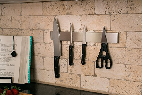 Professional Grade 14'' Stainless Steel Magnetic Knife Holder, Multipurpose Functionality, Easy To Install, Mounts on Refrigerator. by Kitchen Selections (Image #1)