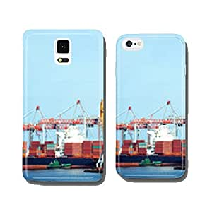 Container stack and ship under crane bridge cell phone cover case Samsung S6