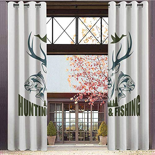 (Hunting Decor Blackout Curtains - Gasket Insulation Artistic Emblem Moose Head Horns Trout Salmon Sea Fishes Blackout Curtains for The Living Room W84 x L108 Inch Olive Green Slate Blue White)
