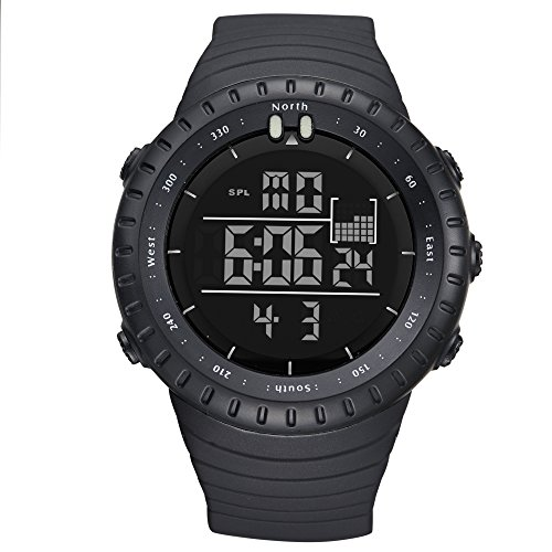 Men's Sport Digital Wrist Watches Outdoor Water Resistant Military Casual LED Backlight Watch (Black)